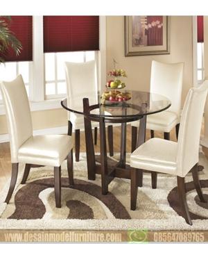 Meja makan minimalis 4 kursi kayu jati asli