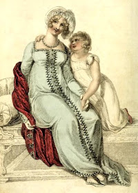Evening dress - an Albanian robe in Sicilian blue  with a Persian helmet cap from Ackermann's   Repository (January 1810)