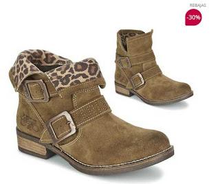 botines marrones leopardo de Le temps des Cerises en oferta