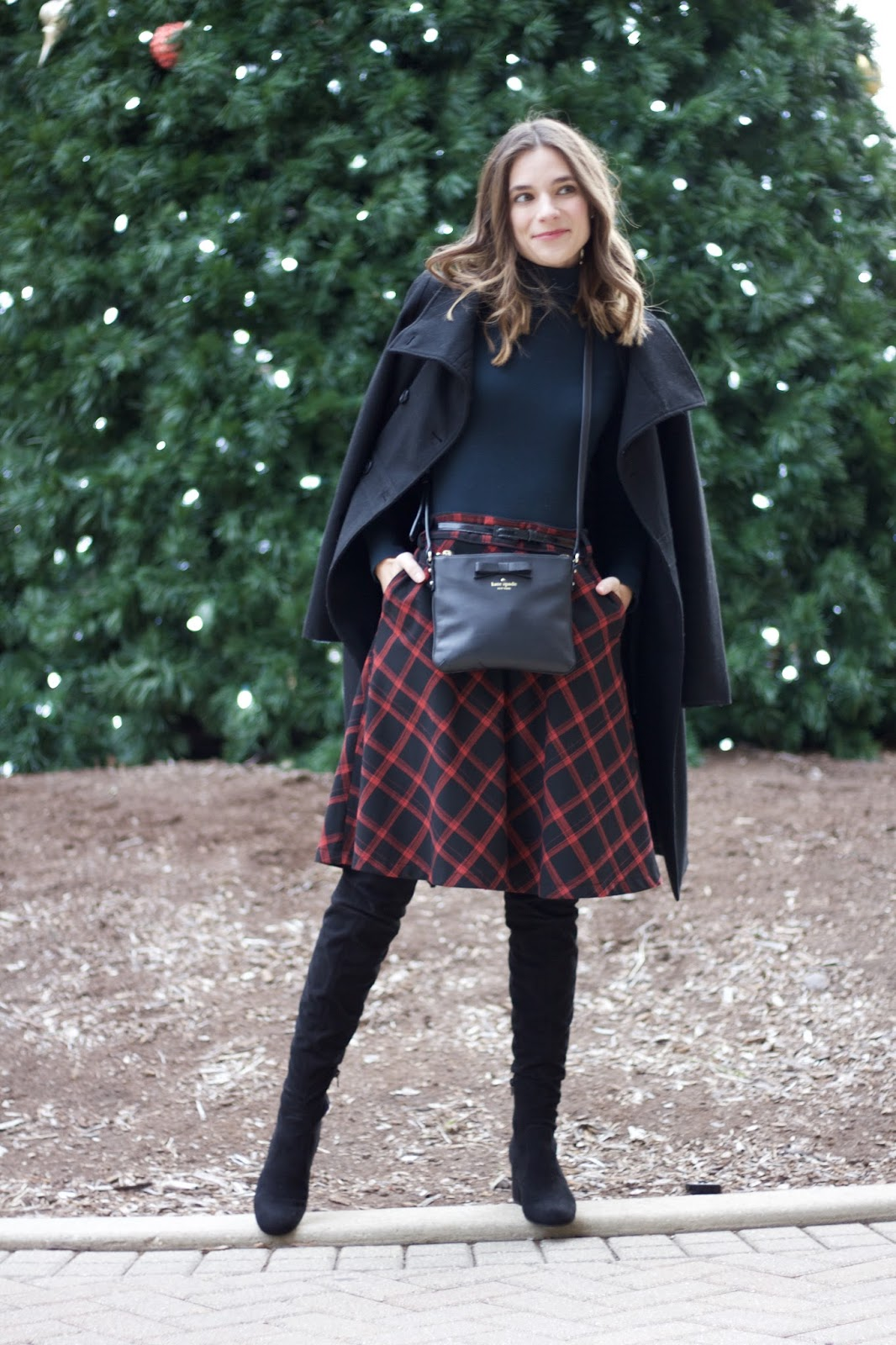 Red Urban Outfitters buffalo check skirt