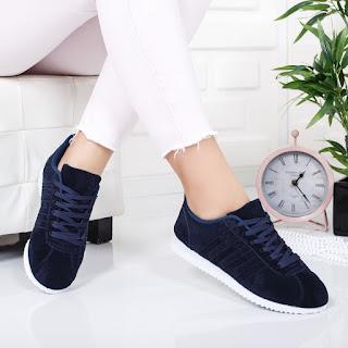 Pantofi sport Idazi bleumarini piele intoarsa