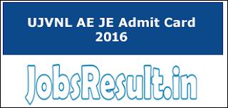 UJVNL AE JE Admit Card 2016