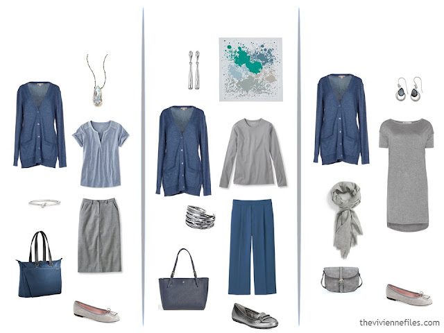 3 ways to wear a slate blue cardigan, with grey