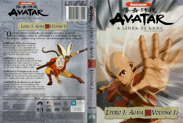 Capa DVD AVATAR A LENDA DE AANG LIVRO 1: ÁGUA VOLUME 1