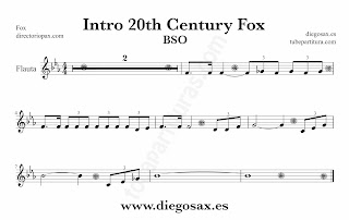 Partitura de la Sintonía de la 20th Century Fox para Flute by Alfred Newman Sheet Music for Flute and Recorder Music Scores