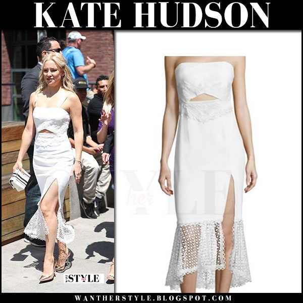 Kate Hudson in white lace bandeau dress jonathan simkhai at Walk of Fame ceremony what she wore may 4 2017