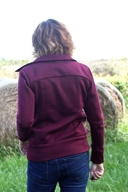 Indiesew pattern called Evergreen Jacket, a moto jacket made with a knit fabric - back view