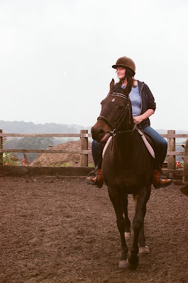 Horse riding at Bushey riding school on a misty morning