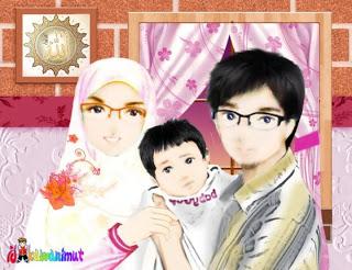 560 Koleksi Gambar Kartun Muslimah Suami Istri Dan Anak HD Terbaik
