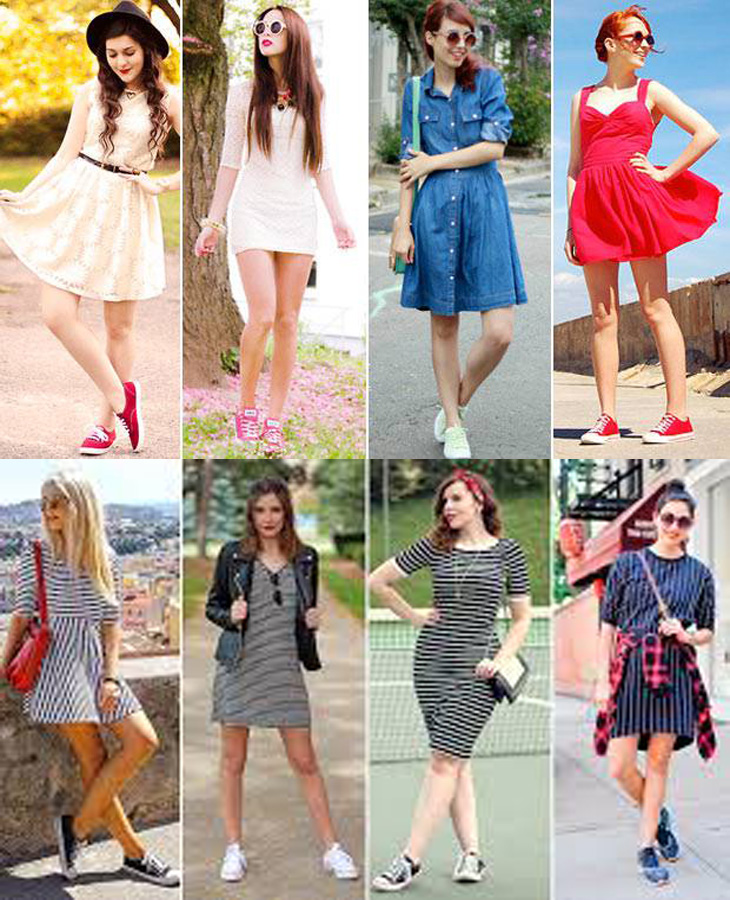 Tênis com vestidos, tênis, dicas de moda, fashion