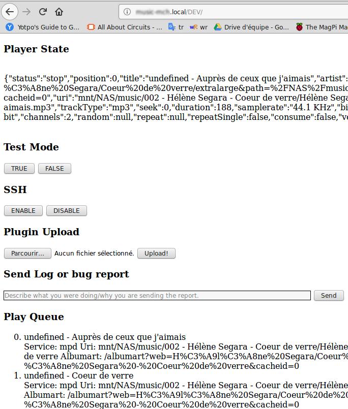 Volumio: Securité, page DEV, SSH et API volumio - MCHobby
