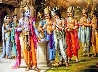 Meditare sul Creativo Sri-Krishna-receives-the-messenger-in-the-company-of-the-Pandavas