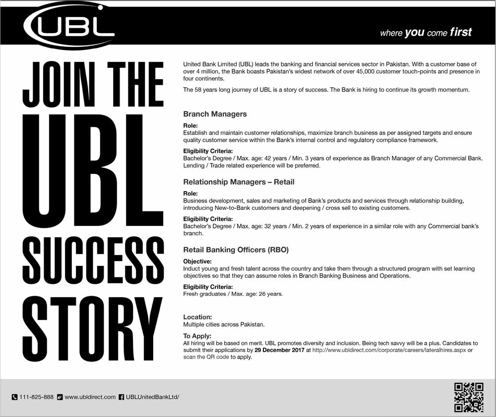 Jobs In   United Bank Limited UBL Dec 2017