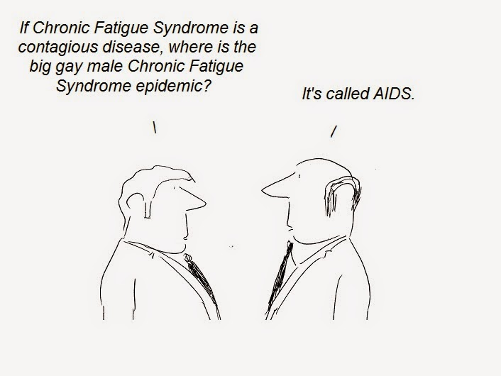 cartoon, cfs, chronic fatigue syndrome, aids, gay, lgbt, fraud, transmission, scandal