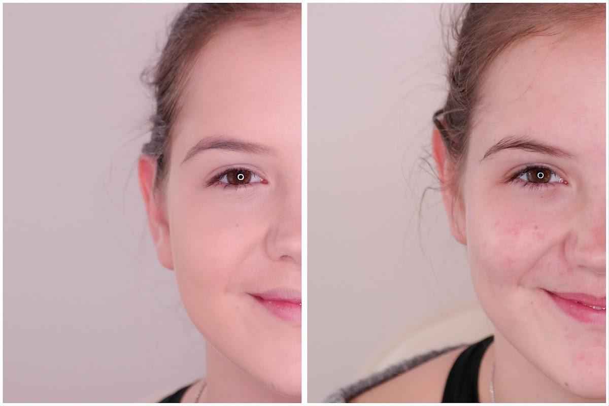 ohne MakeUp mit Makeup vergleich