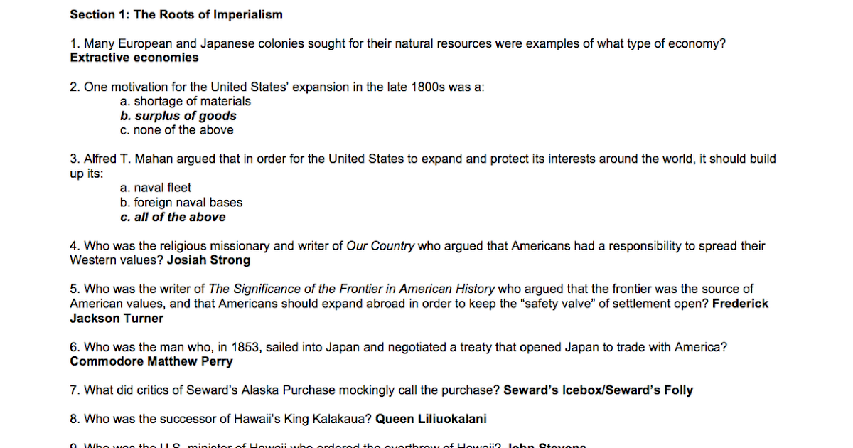 Mr  Evans' US History II: Chapter 18 Review Answers