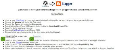 Konwersja pliku z wordpress na blogger