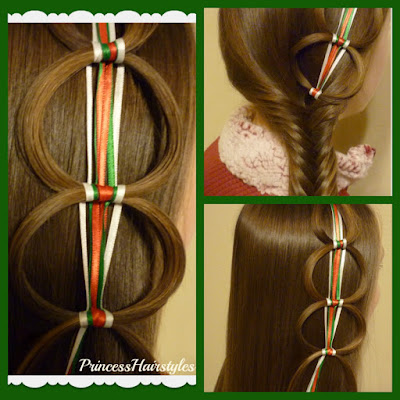 Ribbon chain braid hairstyles video tutorial.