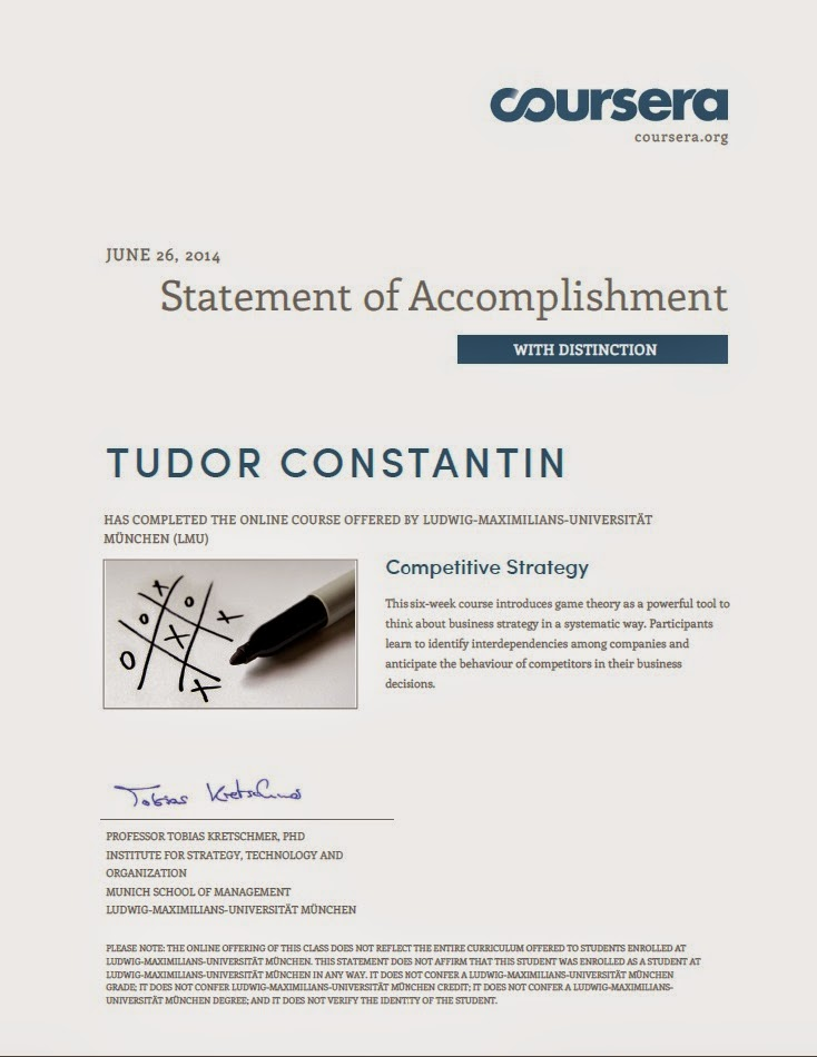 Competitive Strategy - Statement of accomplishment - with distinction