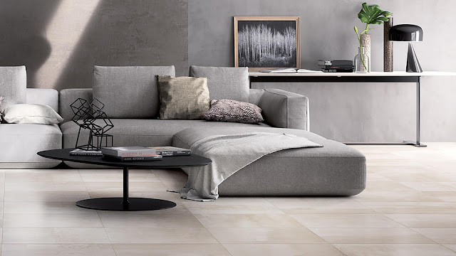 Italian porcelain tile for living room with CONCRETE collection