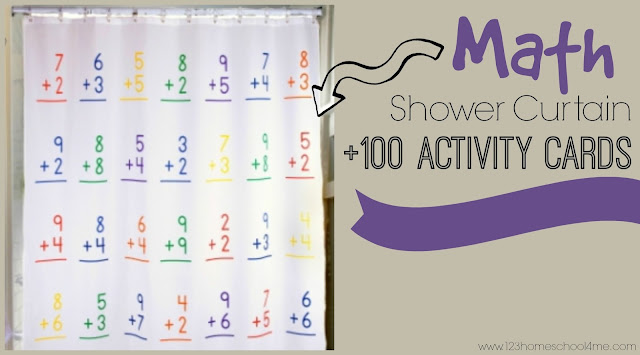 math shower curtain with 100 activity cards (math, kids activities, math games, preschool, kindergarten, 1st grade, 2nd grade)