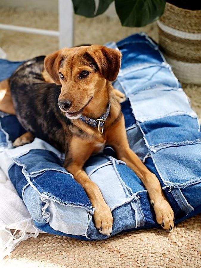 cama para mascotas con tela vaquera