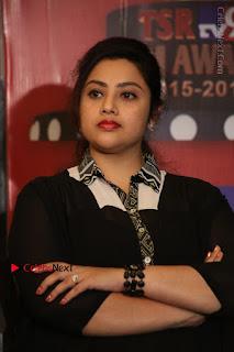 Tamil Actress Meena Latest Stills in Black Dress at TSR TV9 Awards Press Meet  0092.JPG