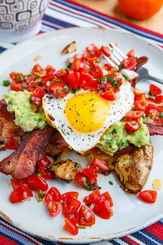 Crispy Smashed Potato Pancakes with Guacamole, Pico de Gallo, Bacon and Eggs