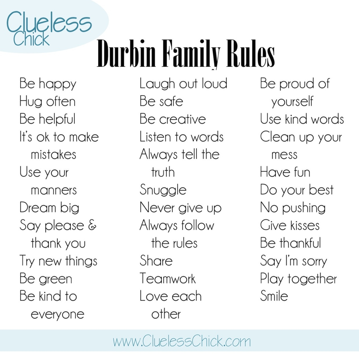 The Clueless Chick How To Create Your Own Family Rules