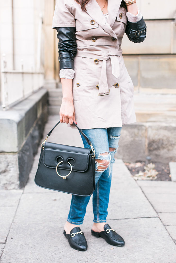 Trenchcoat with black leather sleeves, black Pierced bag inspired by JW Anderson, and Fur-lined Gucci Dupe loafers from Steve Madden Blogger Outfit Photo