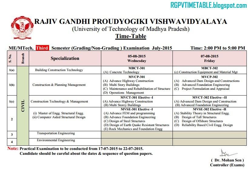 RGPV M Tech/ME 3rd Sem Exam Time Table | RGPV Examination