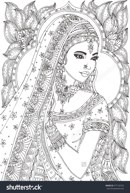 Beautiful Indian Woman Zendala Coloring Page  Shutterstock