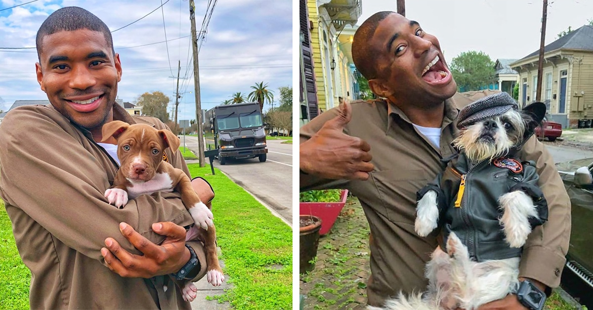 Adorable Pictures Of UPS Driver Posing With Dogs While On His Daily New Orleans Route