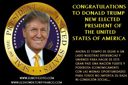 DONALD TRUMP ELECTED 45TH PRESIDENT OF USA