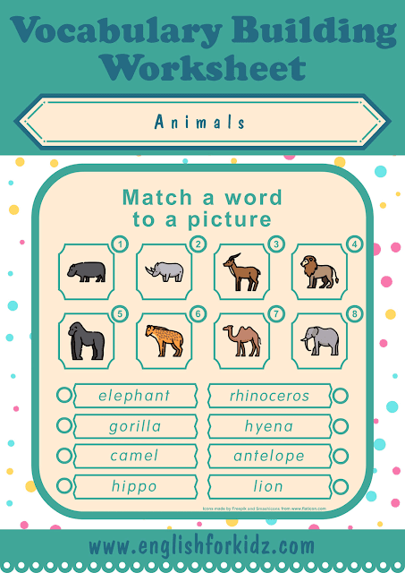 African animals worksheet - word to picture matching - printable ESL worksheets