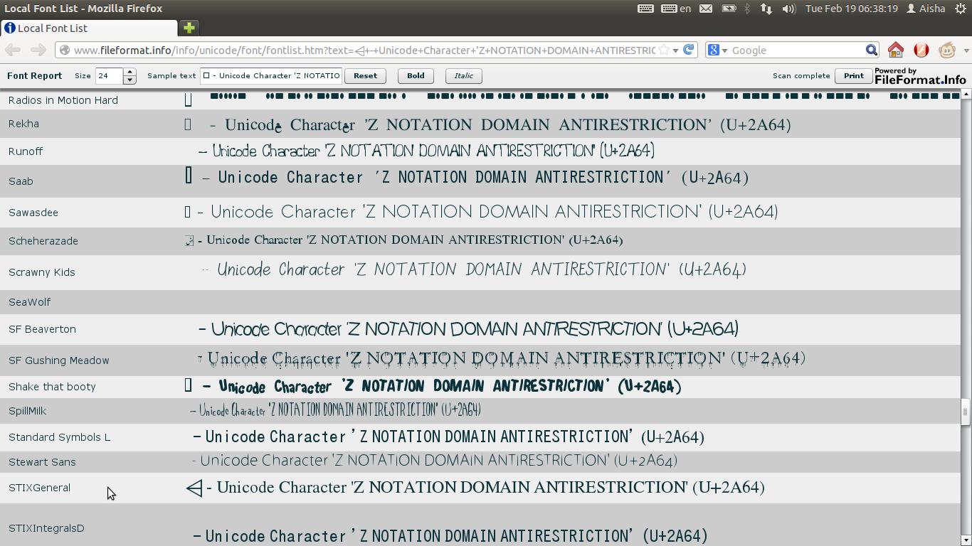 Ubuntu Digest: Installing fonts for Z Notation symbols