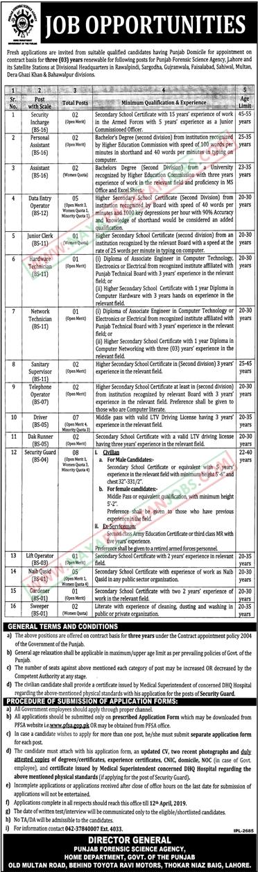 Jobs in Punjab Forensic Science Agency, Punjab Forensic Science Agency Jobs 2019 March