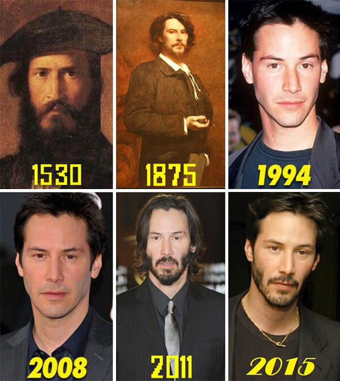 Hilarious Life Progress Pictures Posted Online That Made Us Laugh Out Loud - Keanu Reeves' Progress Through The Centuries