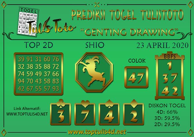 Prediksi Togel GENTING DRAWING TULISTOTO 23 APRIL 2020