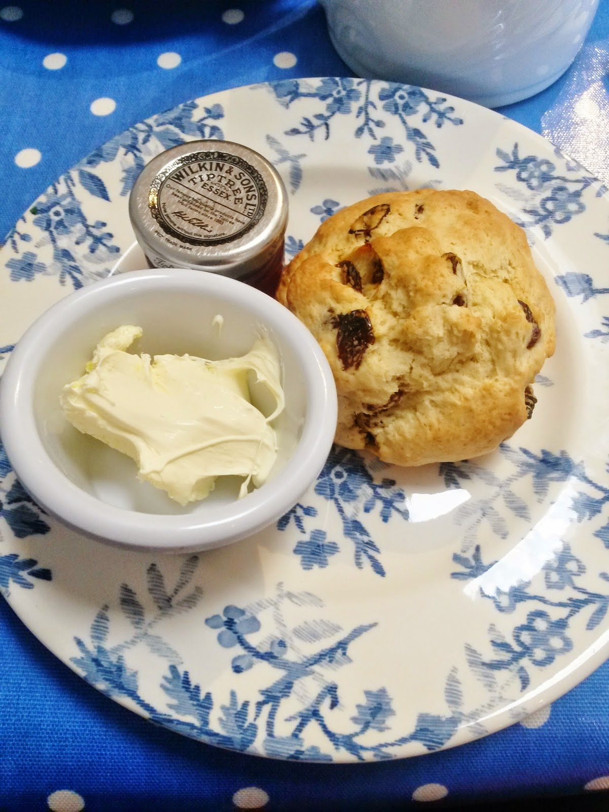 Fruit scones with jam and cream at Dolls House Cafe