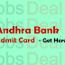 Andhra Bank Admit Card 2017 – Sweeper Exam Date/ Call Letter