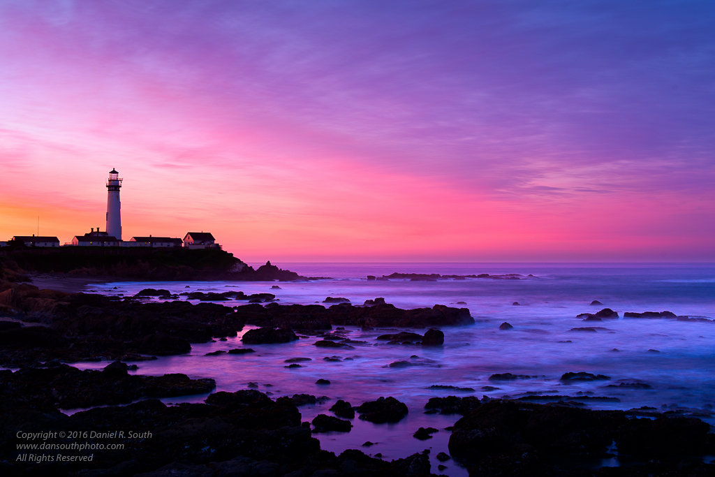 a photo of the lighthouse at pigeon point california at sunrise