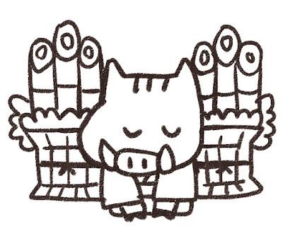 門松の前で挨拶をする猪のイラスト(亥年)モノクロ線画