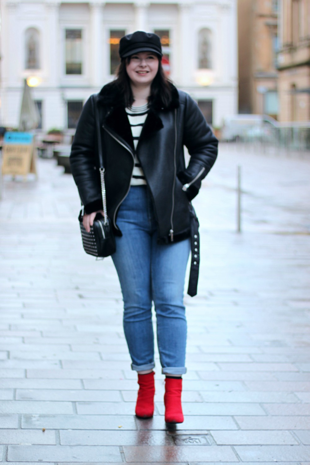 Aviator Jacket, Baker Boy Hat, Red Boots