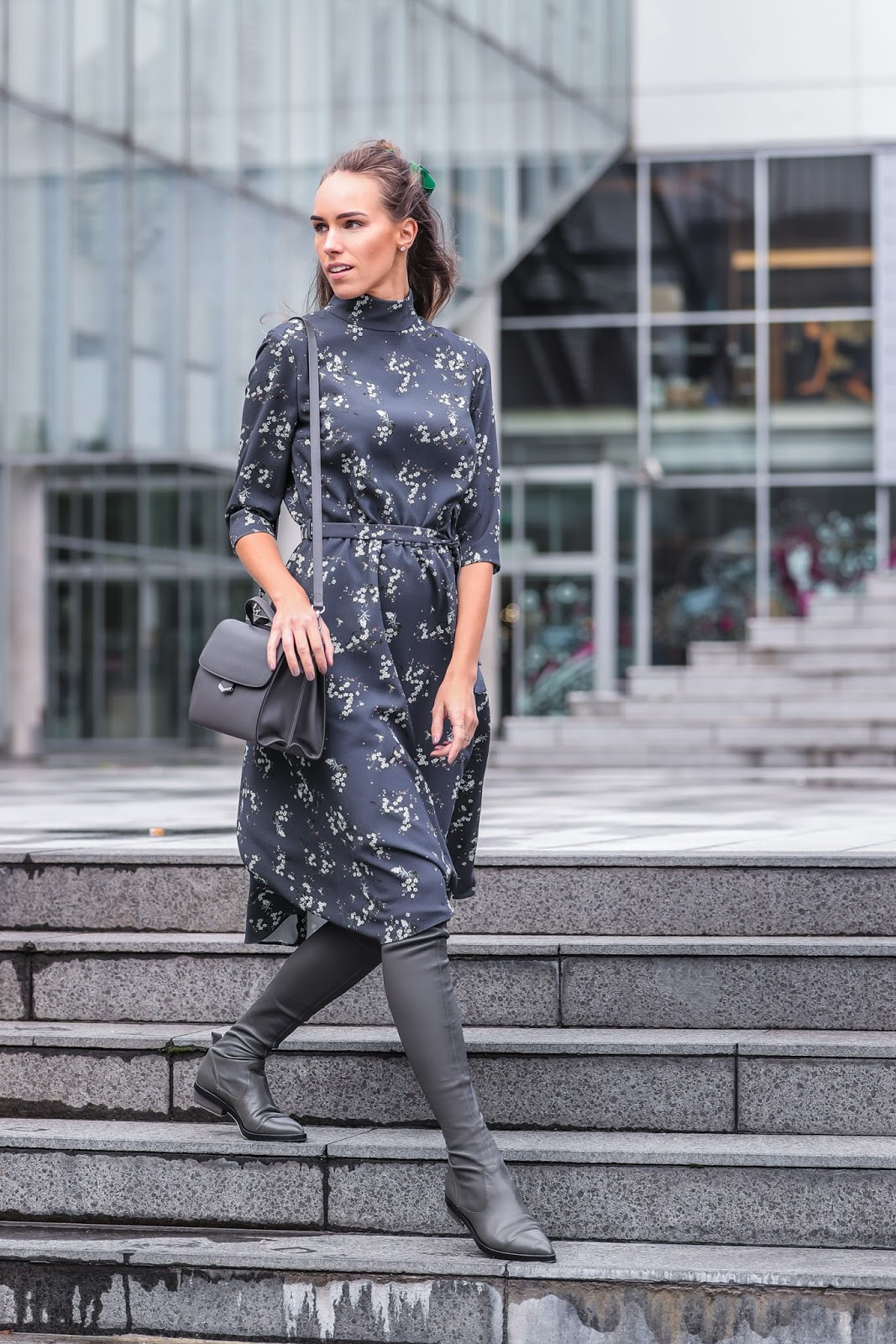 gray midi dress over knee boots fall fashion