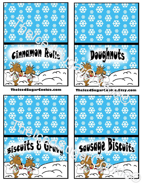 North Pole Breakfast With Stincel And Ringlet by The Iced Sugar Cookie wwwTheIcedSugarCookie.com - Christmas Printables, Food Tent Cards, Cupcake Toppers, Calendar, Sign, Flag Banner