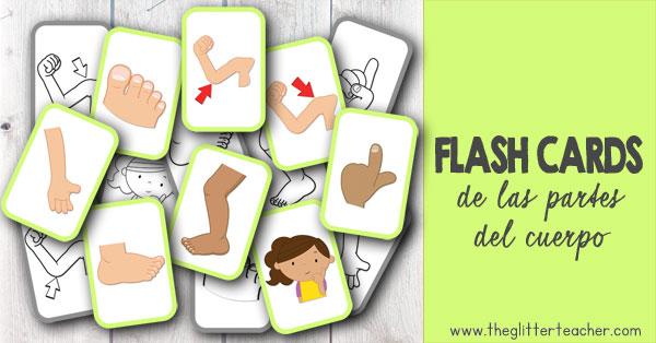 Tarjetas de vocabulario imprimibles de las partes del cuerpo en inglés para educación infantil y educación primaria.