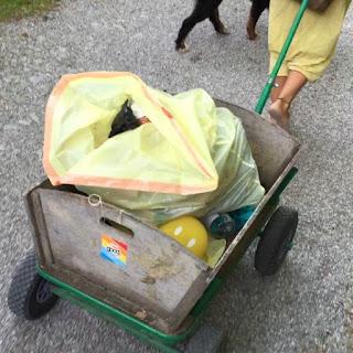 Mit Müll beladener Handwagen