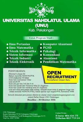 Lowongan Kerja Dosen Universitas Nahdlatul Ulama (UNU) Pekalongan
