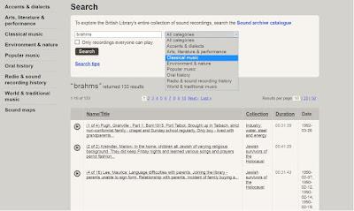 British Library Sounds keresési felület